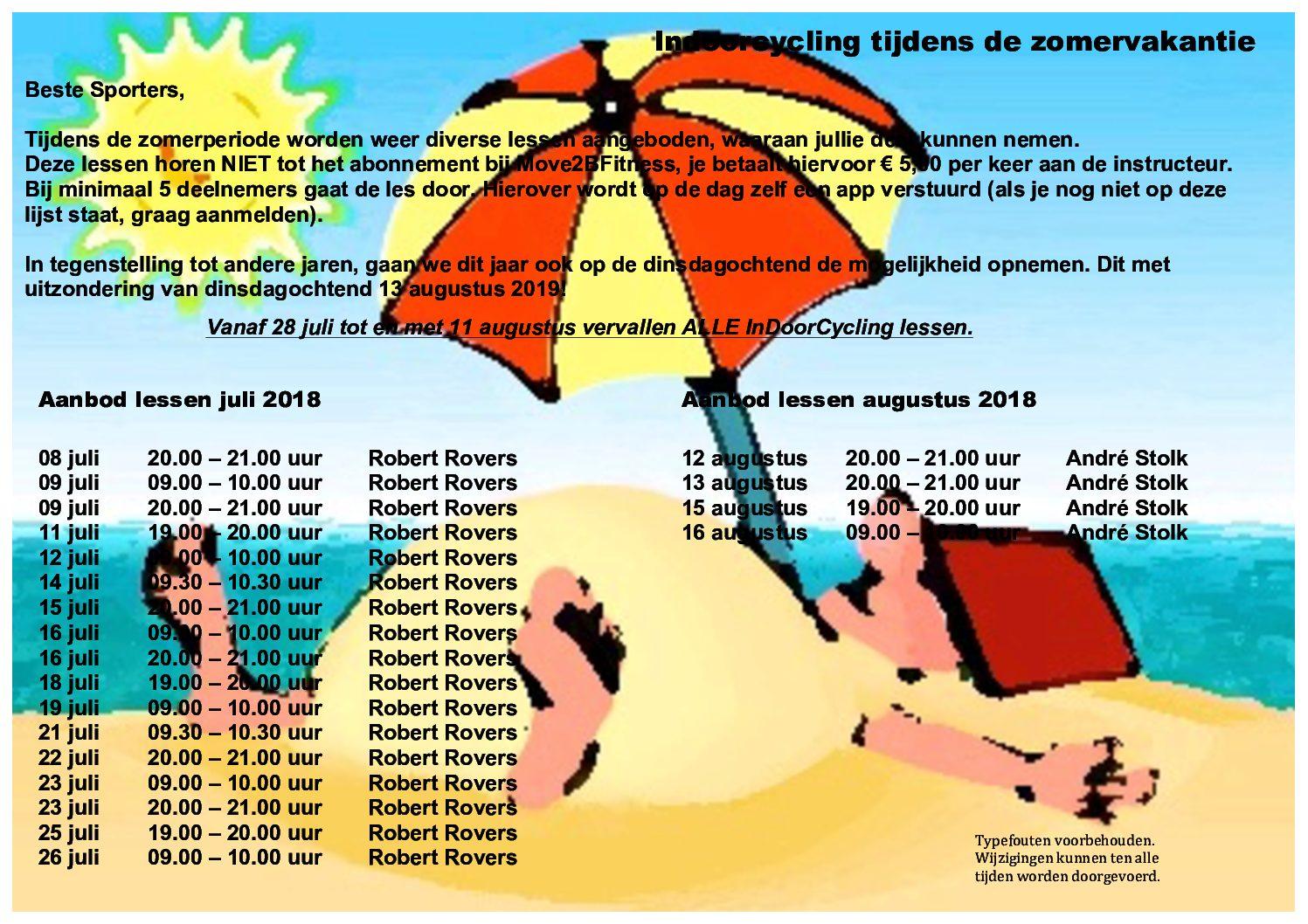 Indoorcycling tijdens zomervakantie